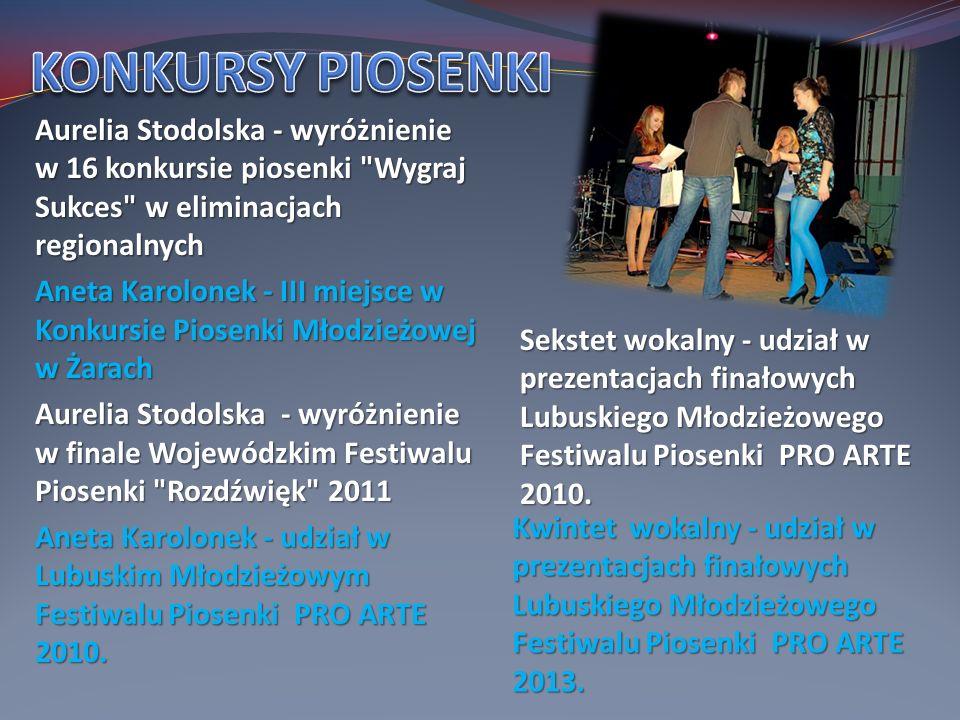 KONKURSY PIOSENKI Aurelia Stodolska - wyróżnienie w 16 konkursie piosenki Wygraj Sukces w eliminacjach regionalnych.