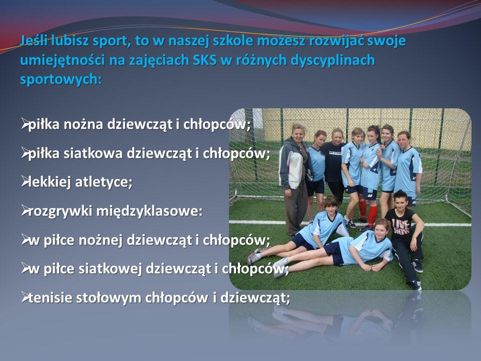 Jeśli lubisz sport, to w naszej szkole możesz rozwijać swoje umiejętności na zajęciach SKS w różnych dyscyplinach sportowych: