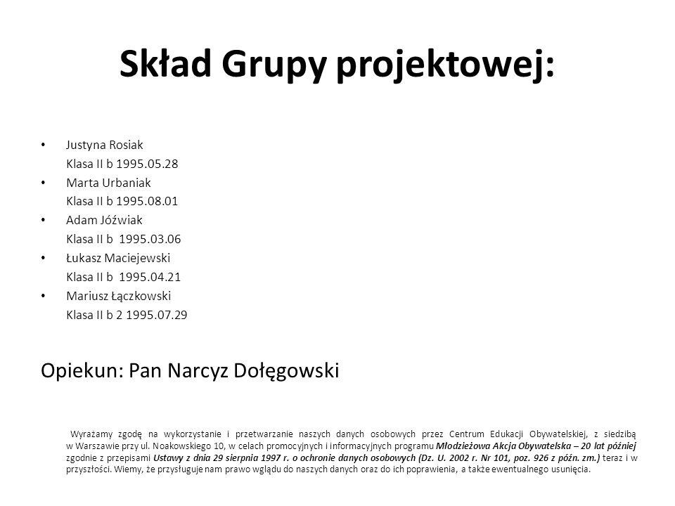 Skład Grupy projektowej: