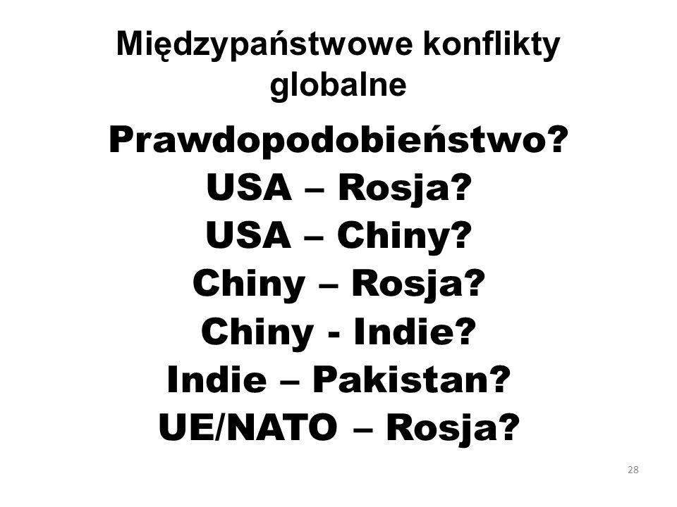 Międzypaństwowe konflikty globalne