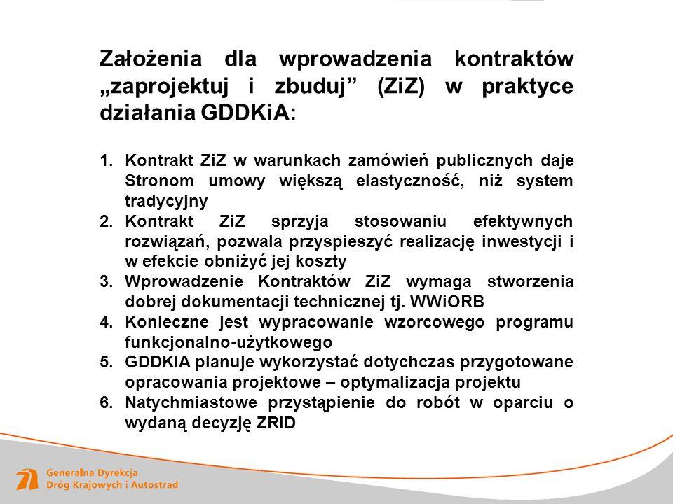 """Założenia dla wprowadzenia kontraktów """"zaprojektuj i zbuduj (ZiZ) w praktyce działania GDDKiA:"""