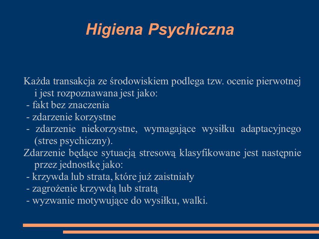 Higiena Psychiczna Każda transakcja ze środowiskiem podlega tzw. ocenie pierwotnej i jest rozpoznawana jest jako: