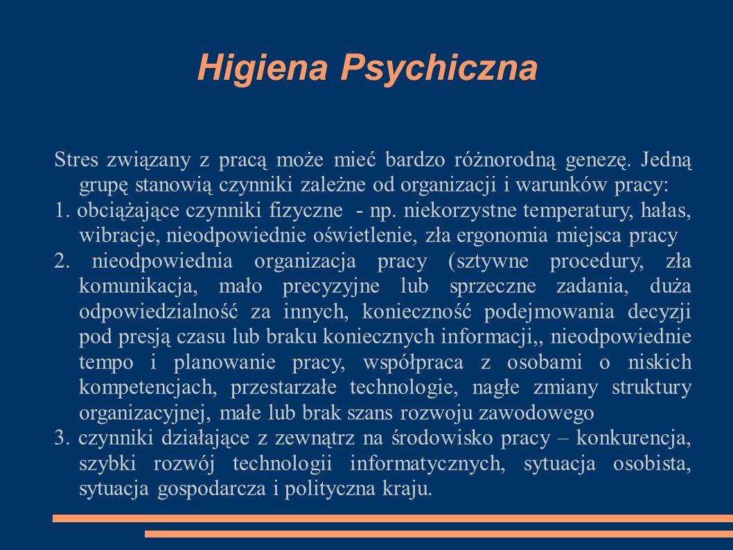 Higiena Psychiczna Stres związany z pracą może mieć bardzo różnorodną genezę. Jedną grupę stanowią czynniki zależne od organizacji i warunków pracy: