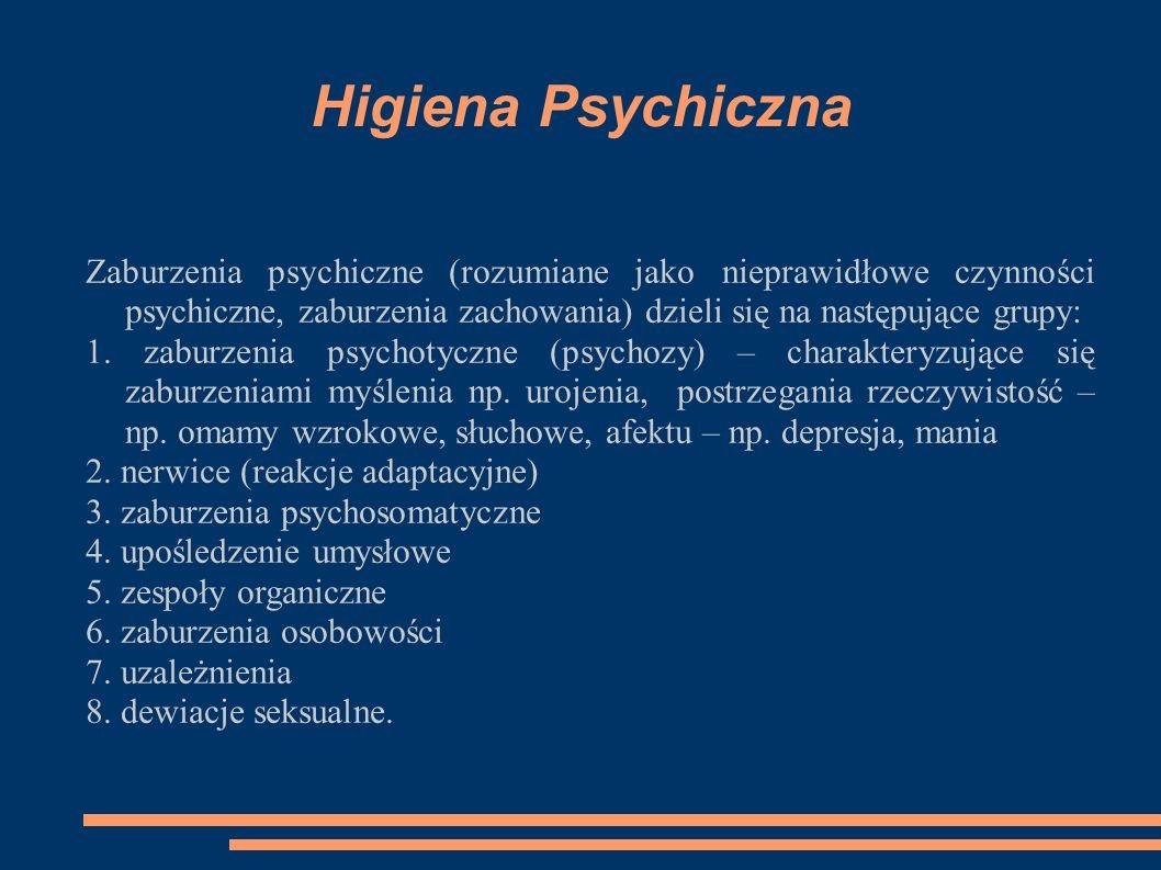 Higiena Psychiczna Zaburzenia psychiczne (rozumiane jako nieprawidłowe czynności psychiczne, zaburzenia zachowania) dzieli się na następujące grupy: