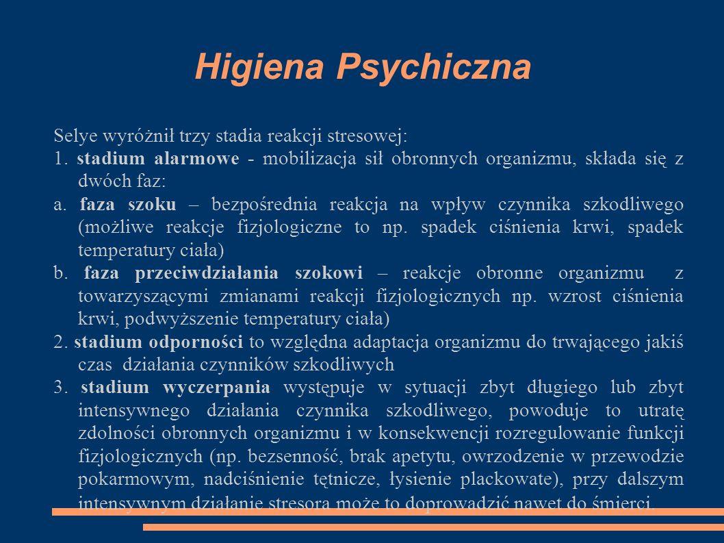 Higiena Psychiczna Selye wyróżnił trzy stadia reakcji stresowej: