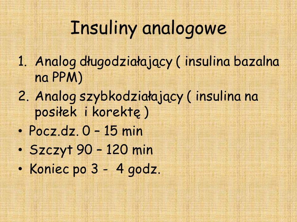 Insuliny analogowe Analog długodziałający ( insulina bazalna na PPM)