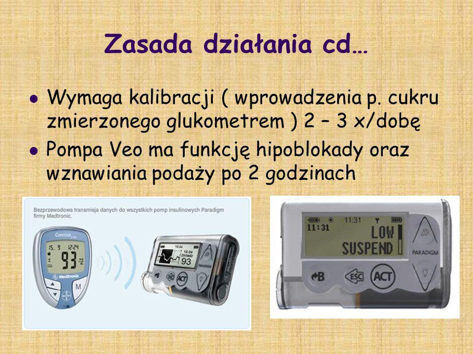 Zasada działania cd… Wymaga kalibracji ( wprowadzenia p. cukru zmierzonego glukometrem ) 2 – 3 x/dobę.
