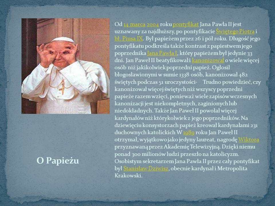 Od 14 marca 2004 roku pontyfikat Jana Pawła II jest uznawany za najdłuższy, po pontyfikacie Świętego Piotra i bł. Piusa IX. Był papieżem przez 26 i pół roku. Długość jego pontyfikatu podkreśla także kontrast z papiestwem jego poprzednika Jana Pawła I, który papieżem był jedynie 33 dni. Jan Paweł II beatyfikował i kanonizował o wiele więcej osób niż jakikolwiek poprzedni papież. Ogłosił błogosławionymi w sumie 1338 osób, kanonizował 482 świętych podczas 51 uroczystości. Trudno powiedzieć, czy kanonizował więcej świętych niż wszyscy poprzedni papieże razem wzięci, ponieważ wiele zapisów wczesnych kanonizacji jest niekompletnych, zaginionych lub niedokładnych. Także Jan Paweł II powołał więcej kardynałów niż którykolwiek z jego poprzedników. Na dziewięciu konsystorzach papież kreował kardynałami 231 duchownych katolickich W 1989 roku Jan Paweł II otrzymał, wyjątkowo jako jedyny laureat, nagrodę Wiktora przyznawaną przez Akademię Telewizyjną. Dzięki niemu ponad 300 milionów ludzi przeszło na katolicyzm. Osobistym sekretarzem Jana Pawła II przez cały pontyfikat był Stanisław Dziwisz, obecnie kardynał i Metropolita Krakowski.
