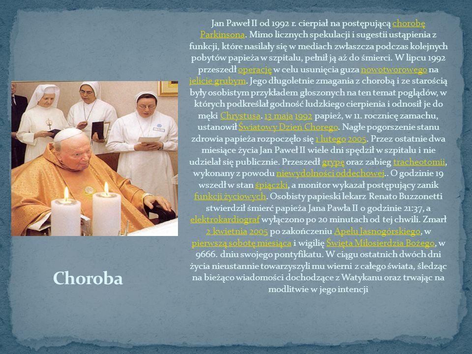 Jan Paweł II od 1992 r. cierpiał na postępującą chorobę Parkinsona