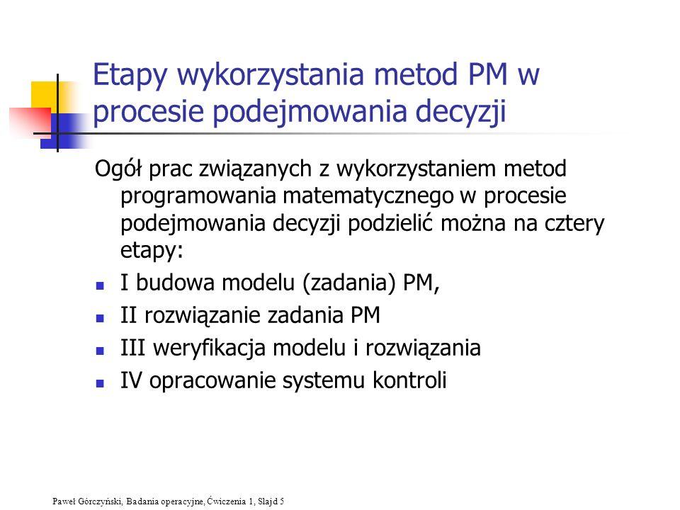 Etapy wykorzystania metod PM w procesie podejmowania decyzji