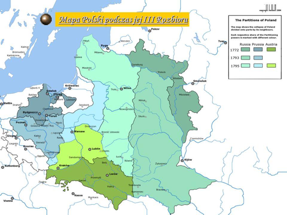 Mapa Polski podczas jej III Rozbioru