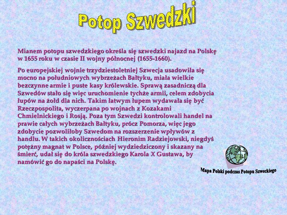 Mapa Polski podczas Potopu Szweckiego