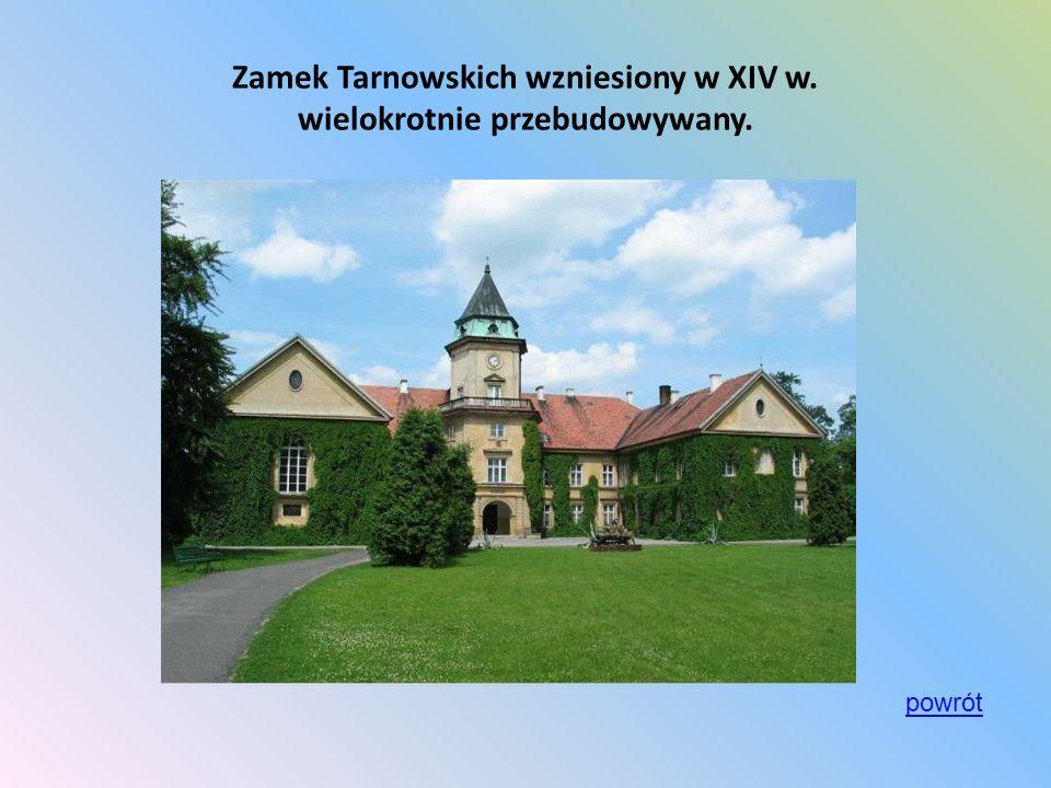 Zamek Tarnowskich wzniesiony w XIV w. wielokrotnie przebudowywany.