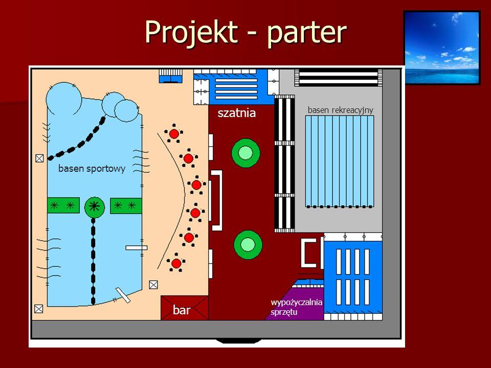 Projekt - parter szatnia bar basen sportowy basen rekreacyjny