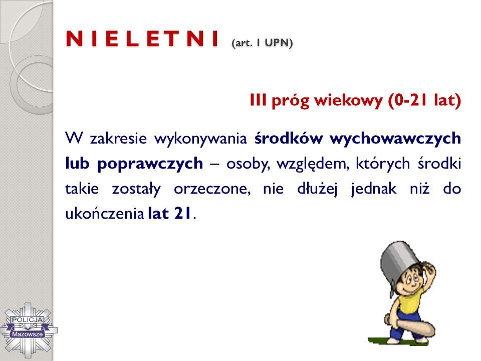 N I E L E T N I (art. 1 UPN) III próg wiekowy (0-21 lat)