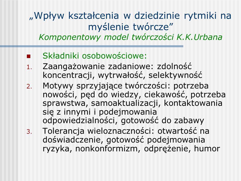 """""""Wpływ kształcenia w dziedzinie rytmiki na myślenie twórcze Komponentowy model twórczości K.K.Urbana"""