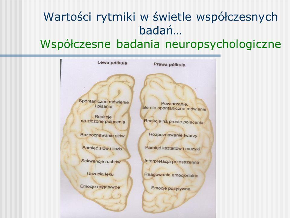 Wartości rytmiki w świetle współczesnych badań… Współczesne badania neuropsychologiczne