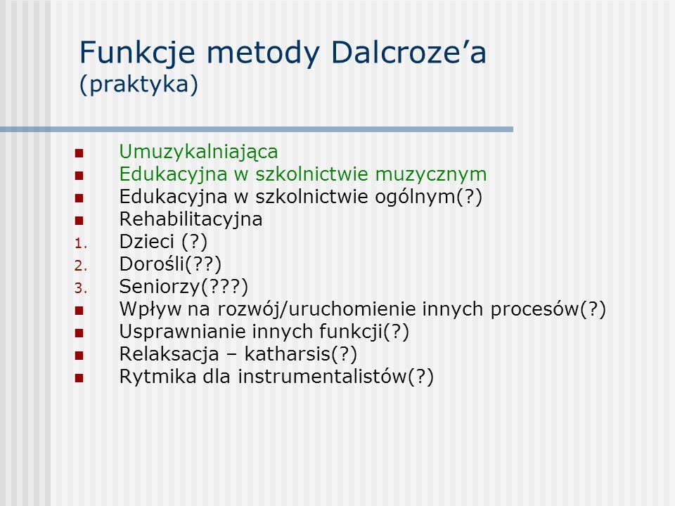 Funkcje metody Dalcroze'a (praktyka)