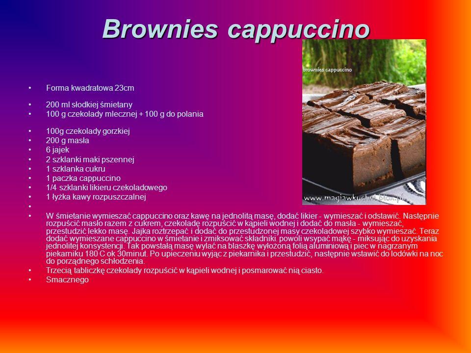 Brownies cappuccino Forma kwadratowa 23cm 200 ml słodkiej śmietany