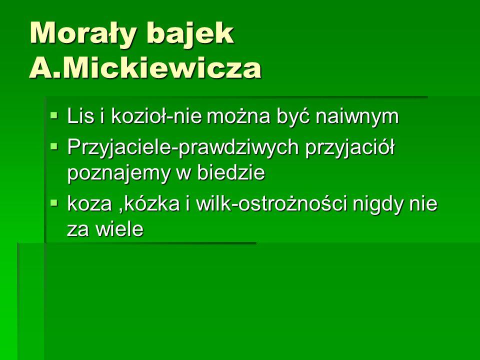 Morały bajek A.Mickiewicza