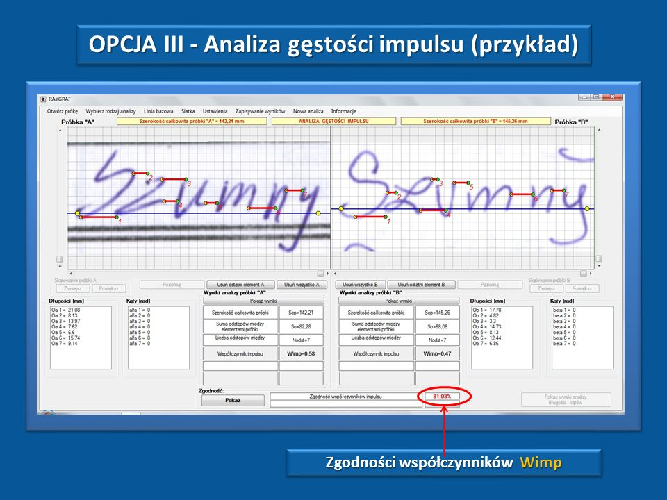 OPCJA III - Analiza gęstości impulsu (przykład)
