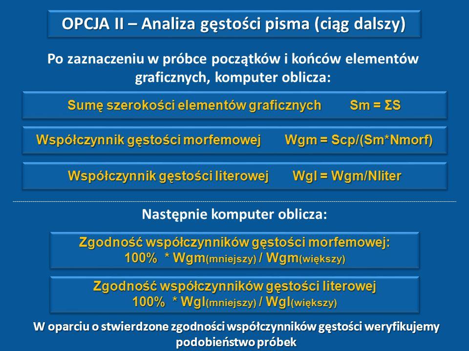 OPCJA II – Analiza gęstości pisma (ciąg dalszy)