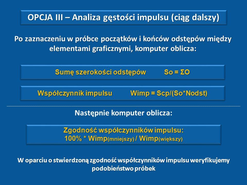OPCJA III – Analiza gęstości impulsu (ciąg dalszy)