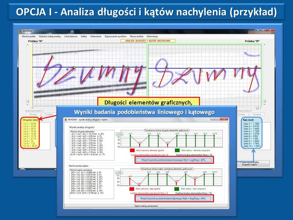 OPCJA I - Analiza długości i kątów nachylenia (przykład)