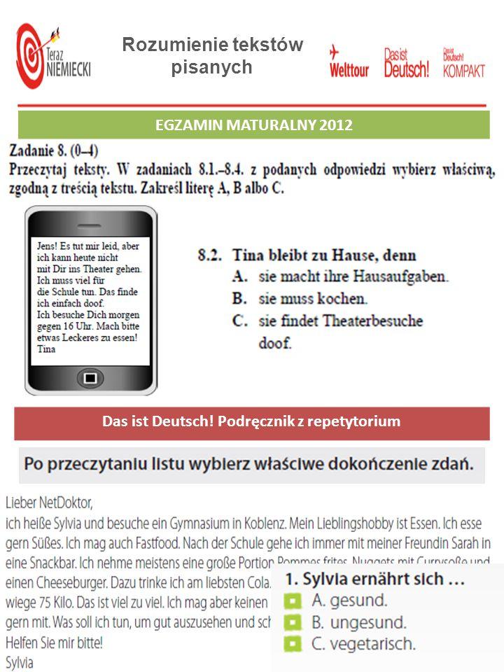 Rozumienie tekstów pisanych Das ist Deutsch! Podręcznik z repetytorium
