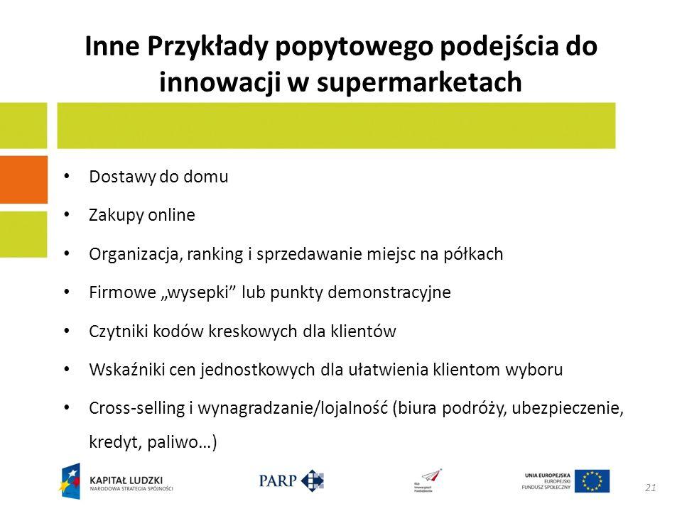 Inne Przykłady popytowego podejścia do innowacji w supermarketach