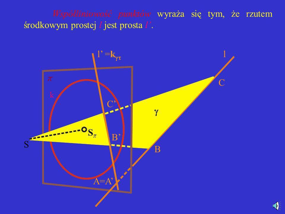 Współliniowość punktów wyraża się tym, że rzutem środkowym prostej l jest prosta l'.