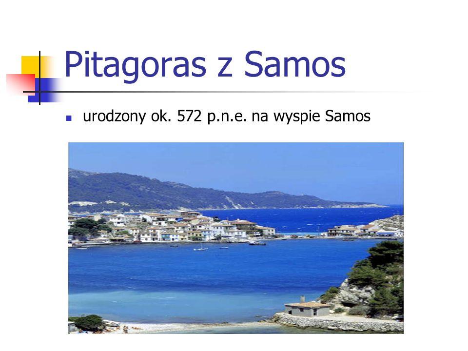Pitagoras z Samos urodzony ok. 572 p.n.e. na wyspie Samos