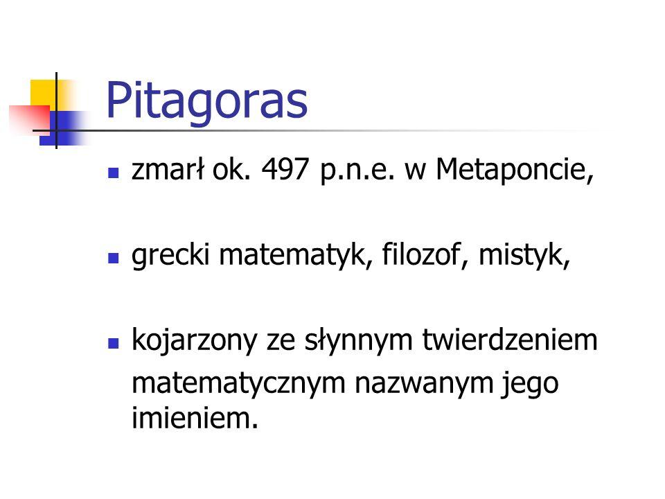 Pitagoras zmarł ok. 497 p.n.e. w Metaponcie,