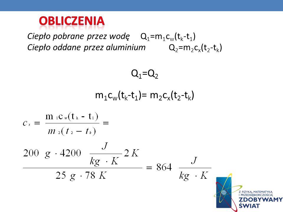 Obliczenia Q1=Q2 m1cw(tk-t1)= m2cx(t2-tk)