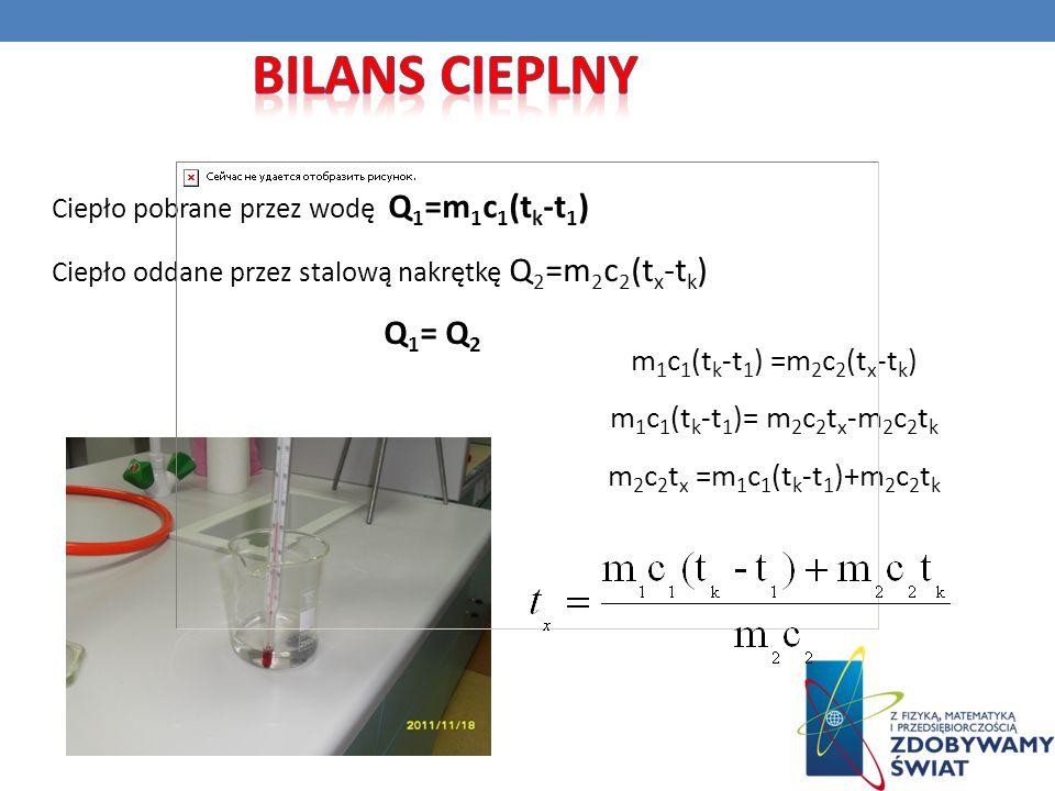 Bilans cieplny Q1= Q2 m1c1(tk-t1) =m2c2(tx-tk)
