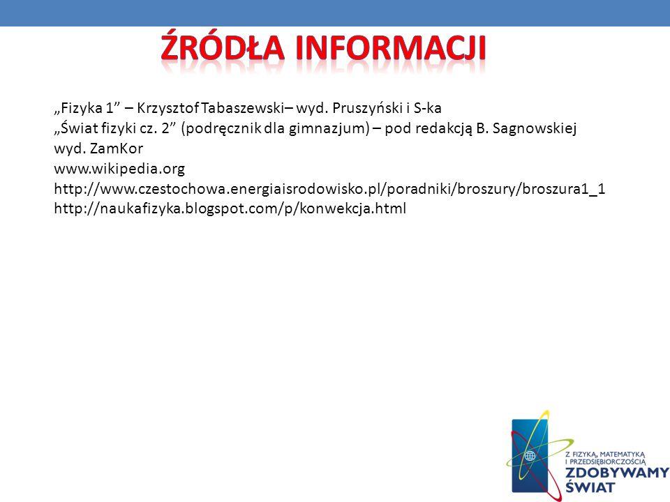 """Źródła informacji """"Fizyka 1 – Krzysztof Tabaszewski– wyd. Pruszyński i S-ka."""