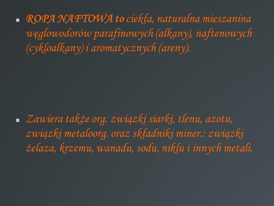 ROPA NAFTOWA to ciekła, naturalna mieszanina węglowodorów parafinowych (alkany), naftenowych (cykloalkany) i aromatycznych (areny).