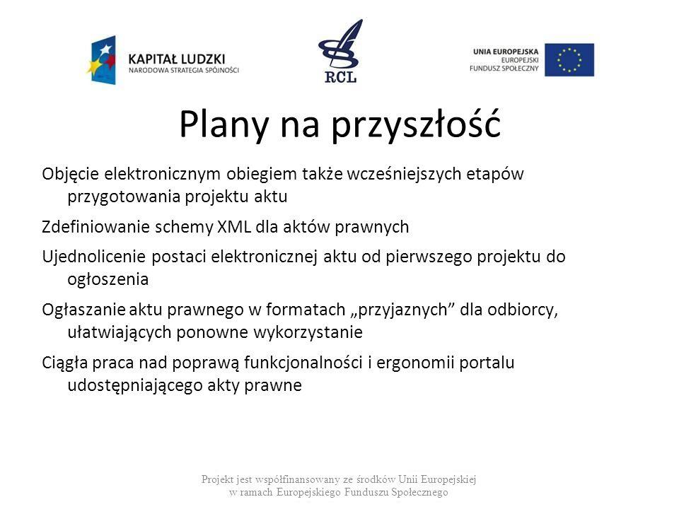 Plany na przyszłość Objęcie elektronicznym obiegiem także wcześniejszych etapów przygotowania projektu aktu.
