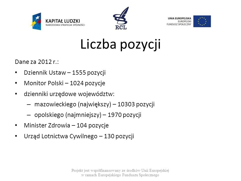 Liczba pozycji Dane za 2012 r.: Dziennik Ustaw – 1555 pozycji