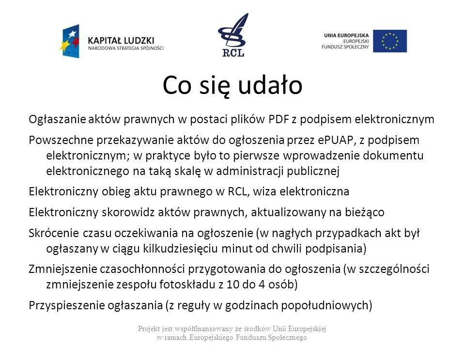 Co się udało Ogłaszanie aktów prawnych w postaci plików PDF z podpisem elektronicznym.