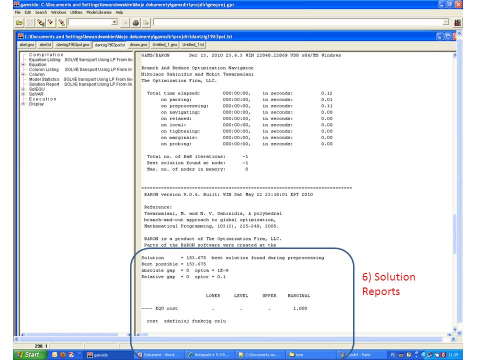 6) Solution Reports