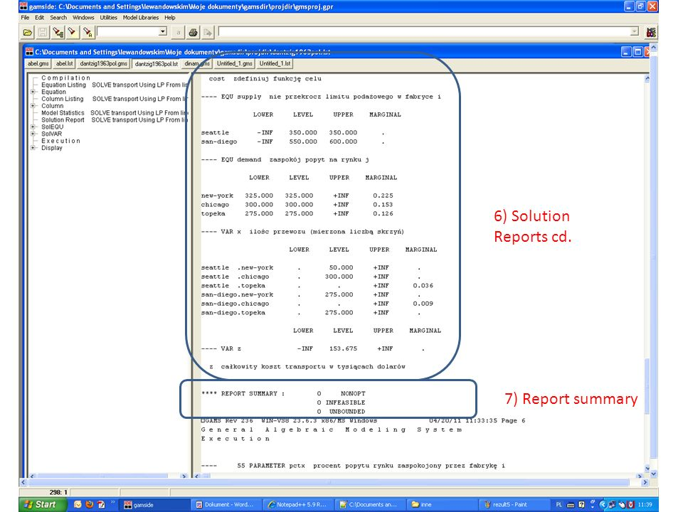 6) Solution Reports cd. 7) Report summary