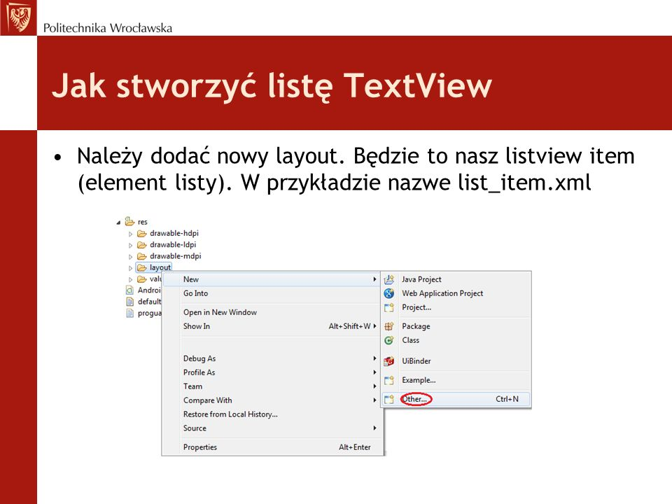 Jak stworzyć listę TextView