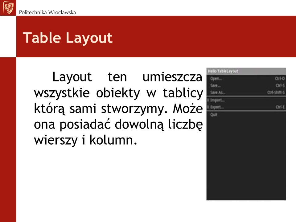 Table Layout Layout ten umieszcza wszystkie obiekty w tablicy którą sami stworzymy.