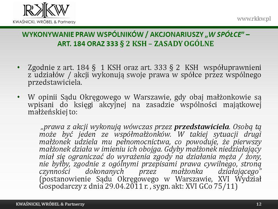 """Tytuł prezentacji wykonywanie praw wspólników / akcjonariuszy """"w Spółce – art. 184 oraz 333 § 2 KSH – zasady ogólne."""