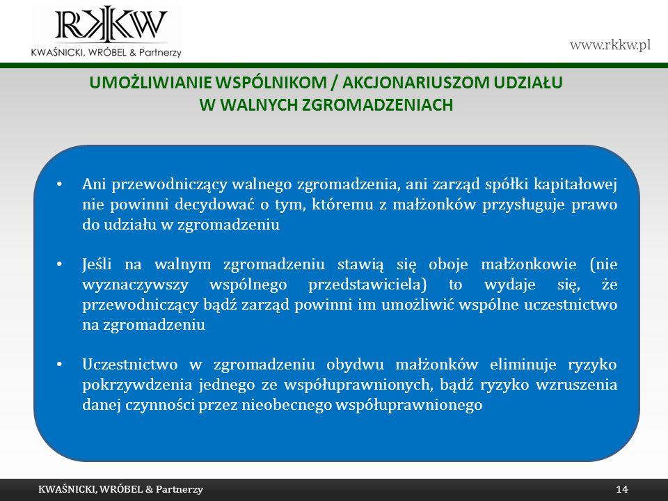 Tytuł prezentacji umożliwianie wspólnikom / akcjonariuszom udziału w walnych zgromadzeniach.