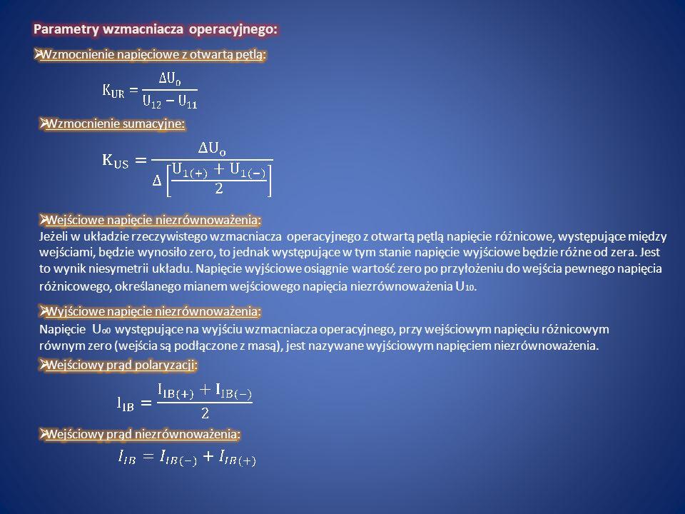 Parametry wzmacniacza operacyjnego: