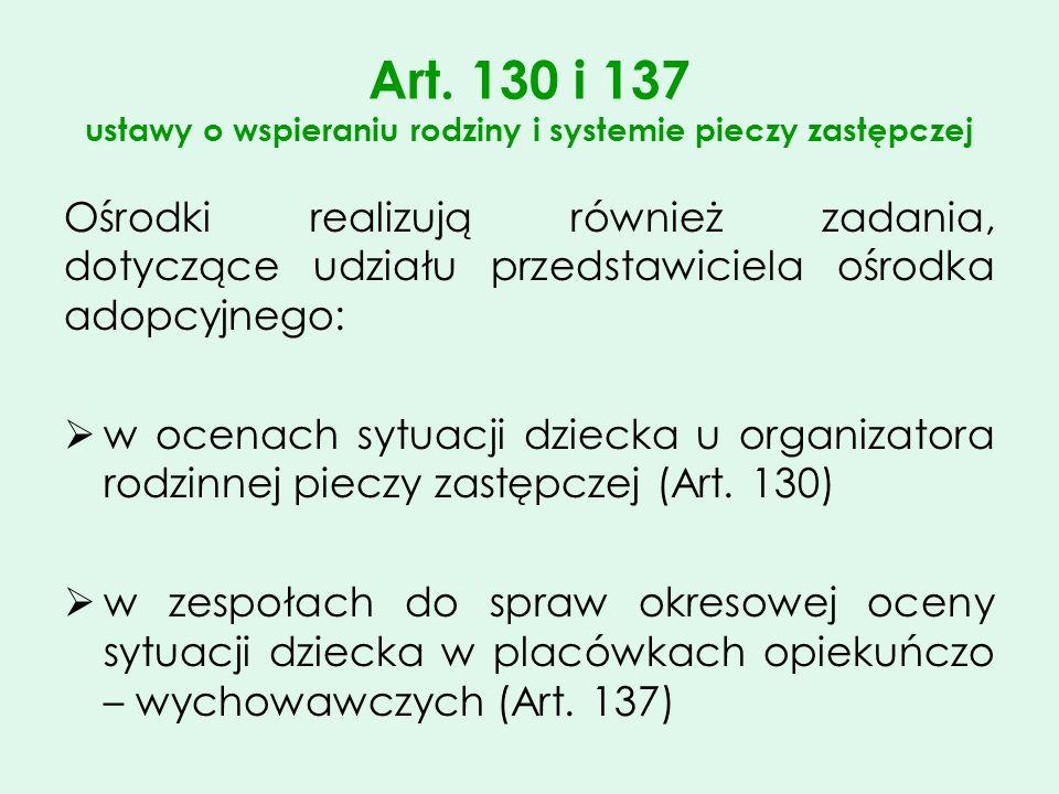 Art. 130 i 137 ustawy o wspieraniu rodziny i systemie pieczy zastępczej