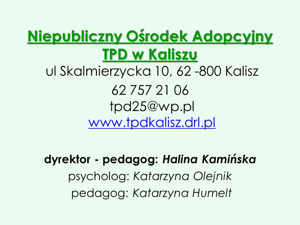 dyrektor - pedagog: Halina Kamińska