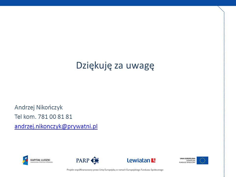 Dziękuję za uwagę Andrzej Nikończyk Tel kom. 781 00 81 81
